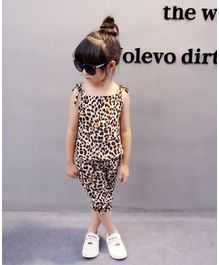 Pre Order - Awabox Leopard Print Sleeveless Top & Shorts Set - Brown