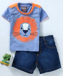 Little Kangaroos Half Sleeves Tee With Shorts Lion Print - Blue