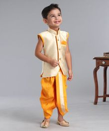 Ridokidz Sleeveless Self Design Kurta With Dhoti - Beige & Yellow