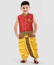 d5804a769 Ridokidz Sleeveless Floral Embroidered Stand Collar Neck Kurta With Dhoti -  Red   Yellow