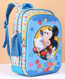 Disney Mickey Mouse School Bag Blue and Yellow  - Height 11 Inches
