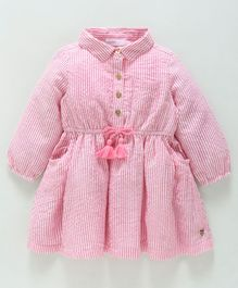 Babyoye Full Sleeves Striped Cotton Frock - Pink White