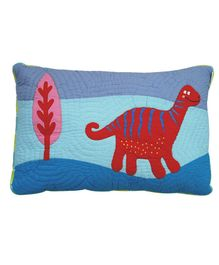 Abracadabra Quilted Pillow Cover Dino Patch - Blue