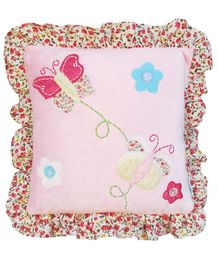 Abracadabra Cushion With Fillers Butterfly Patch - Pink
