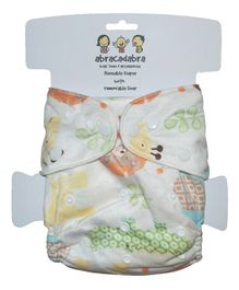 Abracadabra Reusable Diaper With Liner Jungle Print - Multicolor