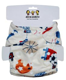 Abracadabra Reusable Diaper Sports Print - Off White