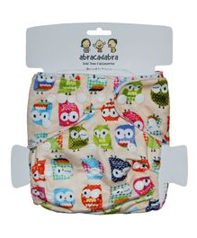 Abracadabra Reusable Diaper Owl Print - Cream