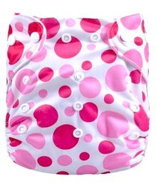 Abracadabra Reusable Polka  Dot Diaper - White Pink