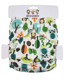 Abracadabra Reusable Diaper Owl Print - White