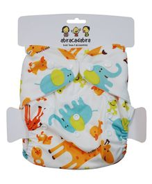 Abracadabra Reusable Diaper Animal Print - White