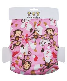 Abracadabra Reusable Diaper Monkey Print - Pink