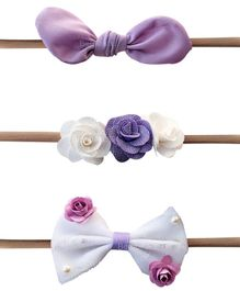 Bembika Baby Floral Elastic Headbands Set of 3 - White & Purple