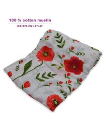 Bembika Muslin Swaddle Bamboo Blankets Large - Red White