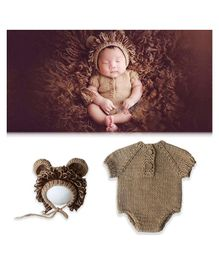 Bembika Newborn Lovely Knitted Lion Hat & Romper Set of 2 - Brown