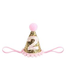 Bembika Cone Hat Tiara Adjustable Headbands Gold - 1st & 2nd Birthday