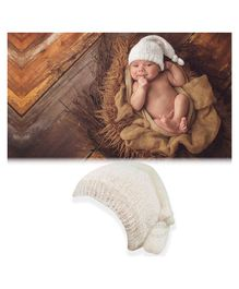 Bembika Woolen Chunky Cap Photography Prop - White