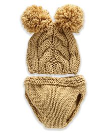 Bembika Pom Pom Cap And Shorts Baby Photoprop Set - Brown