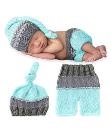 Bembika Cap And Pant Photography Prop Set - Sky Blue Grey
