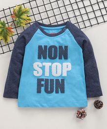 Babyhug Full Sleeves T-Shirt Text Print - Blue