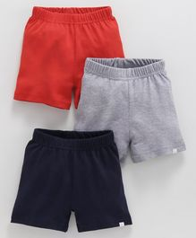Babyoye Cotton Basic Shorts - Navy Blue Grey & Red