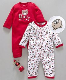 Babyhug Full Sleeves Romper Teddy Print Pack of 2 - Red White