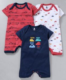 I Bears Half Sleeves Rompers Car Print Pack of 3 - Red White Blue