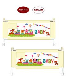 Syga 2 Pieces Baby Bed Fence With Cartoon Print 1.8 Meters - Blue