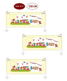 Syga 3 Pieces Baby Bed Fence With Cartoon Print 1.5 Meters - Blue