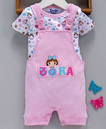 Mom's Love Dungaree Style Romper With Half Sleeves Inner Tee Dora Print - Pink