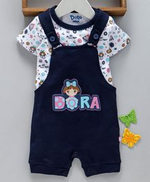 Mom's Love Dungaree Style Romper With Half Sleeves Inner Tee Dora Print - Navy Blue