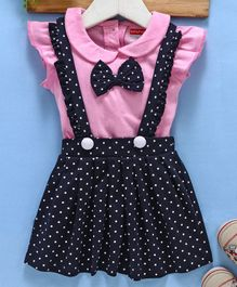 Babyhug  Dungaree Style Frock With Tee And Bow Applique Dot Print - Pink Navy Blue