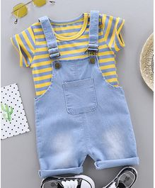 Awabox Half Sleeves Striped Tee With Dungaree - Yellow