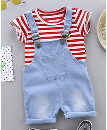 Awabox Half Sleeves Striped Tee With Dungaree - Red