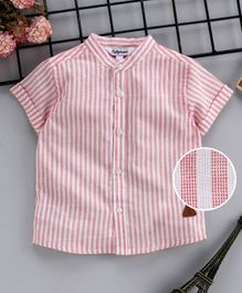 ToffyHouse Half Sleeves Shirt Striped - Light Pink