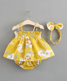 Pre Order - Awabox Floral Printed Sleeveless Dress With Bloomers & Headband - Yellow