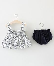 Pre Order - Awabox Sleeveless Butterfly Print Dress With Bloomers - White