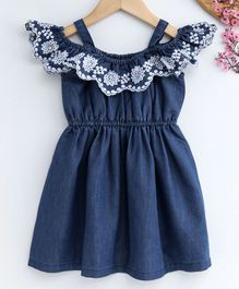 Babyhug Singlet Embroidered Denim Frock - Blue