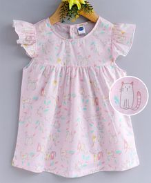 Teddy Cap Sleeves Frock Kitty Print - Light Pink