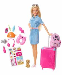 Barbie Doll With Travel Accessories Pink - Height 32 cm
