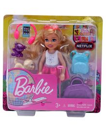 Barbie Chelsea Doll With Travel Accessories Pink - Height 13 cm