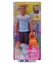 Barbie Ken Doll With Travel Accessories Blue - Height 30 cm