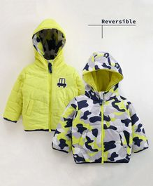 Babyoye Full Sleeves Hooded Reversible Jacket - Yellow