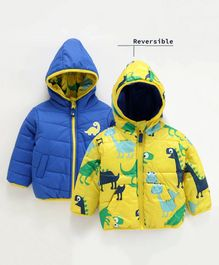 Babyoye Full Sleeves Hooded Reversible Jacket Dino Print - Yellow Blue