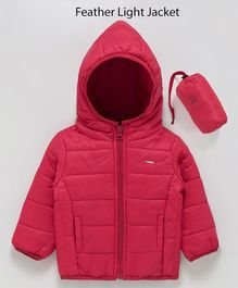 Babyoye Full Sleeves Hooded Padded Lightweight Jacket With Carrying Pouch - Red