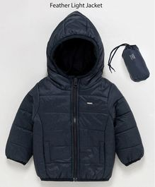 Babyoye Full Sleeves Hooded Padded Lightweight Jacket With Carrying Pouch - Navy Blue