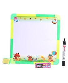 RKs 2 in 1 Double Side Smart Slate With Chalks, Marker & Duster - Green & Yellow