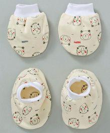 536909bdd86 Simply Cotton Mittens   Booties Set Bear Print - Yellow