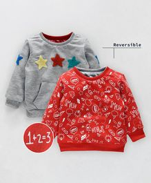 Babyoye Full Sleeves Reversible Sweatshirt Star Patch & Printed - Red Grey