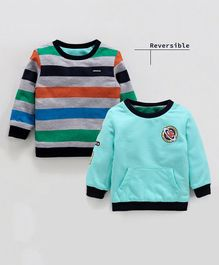 Babyoye Full Sleeves Striped Reversible Sweatshirt Galaxy Explore Print - Teal