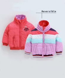 Babyoye Full Sleeves Reversible Jacket Little Princes Embroidery - Coral